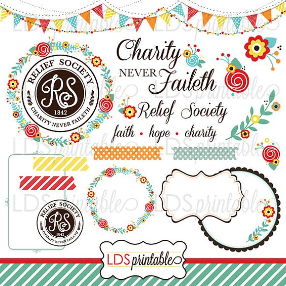 u003cu003cu003cTHIS DOWNLOAD INCLUDESu003eu003eu003e 20 high quality Relief Society clip art set u2022  1 bunting Banner u2022 2 decorative garlands u2022 1