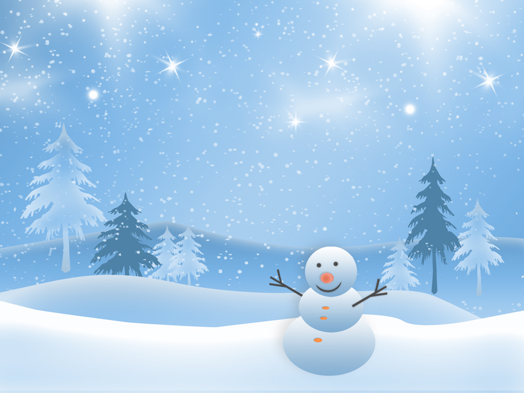 This Is The Christmas Snowman Smiling In The Snow And Stars Background