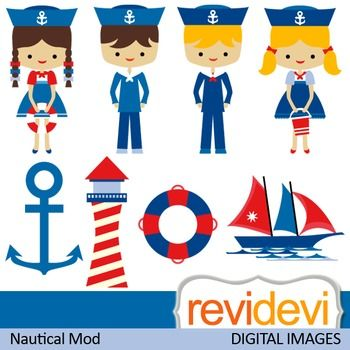 This nautical themed clipart set features cute kids in sailor costumes. Anchor, light house