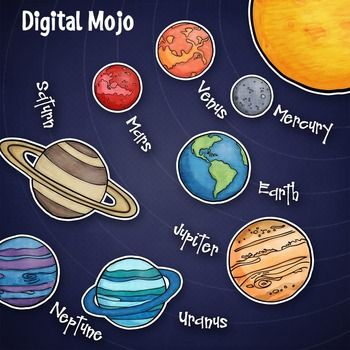 This solar system planet clipart set includes the 8 planets plus the sun in color and