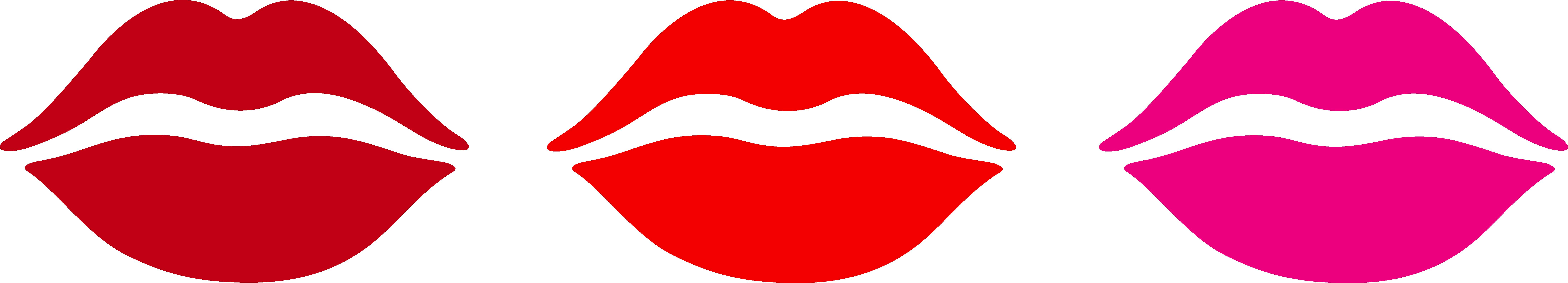 Three Lips Kiss Marks - Free Clip Art