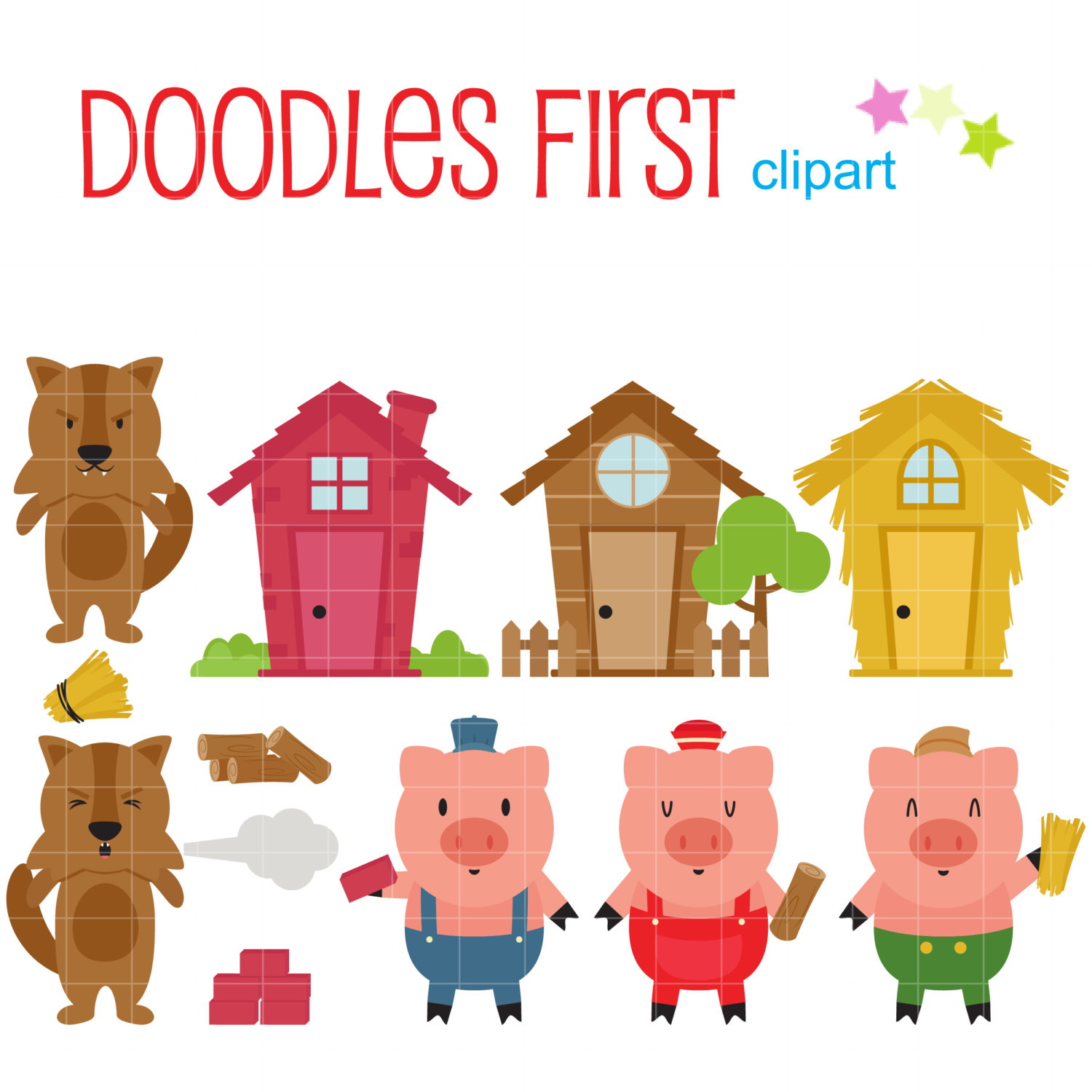 Three Little Pigs clipart set.