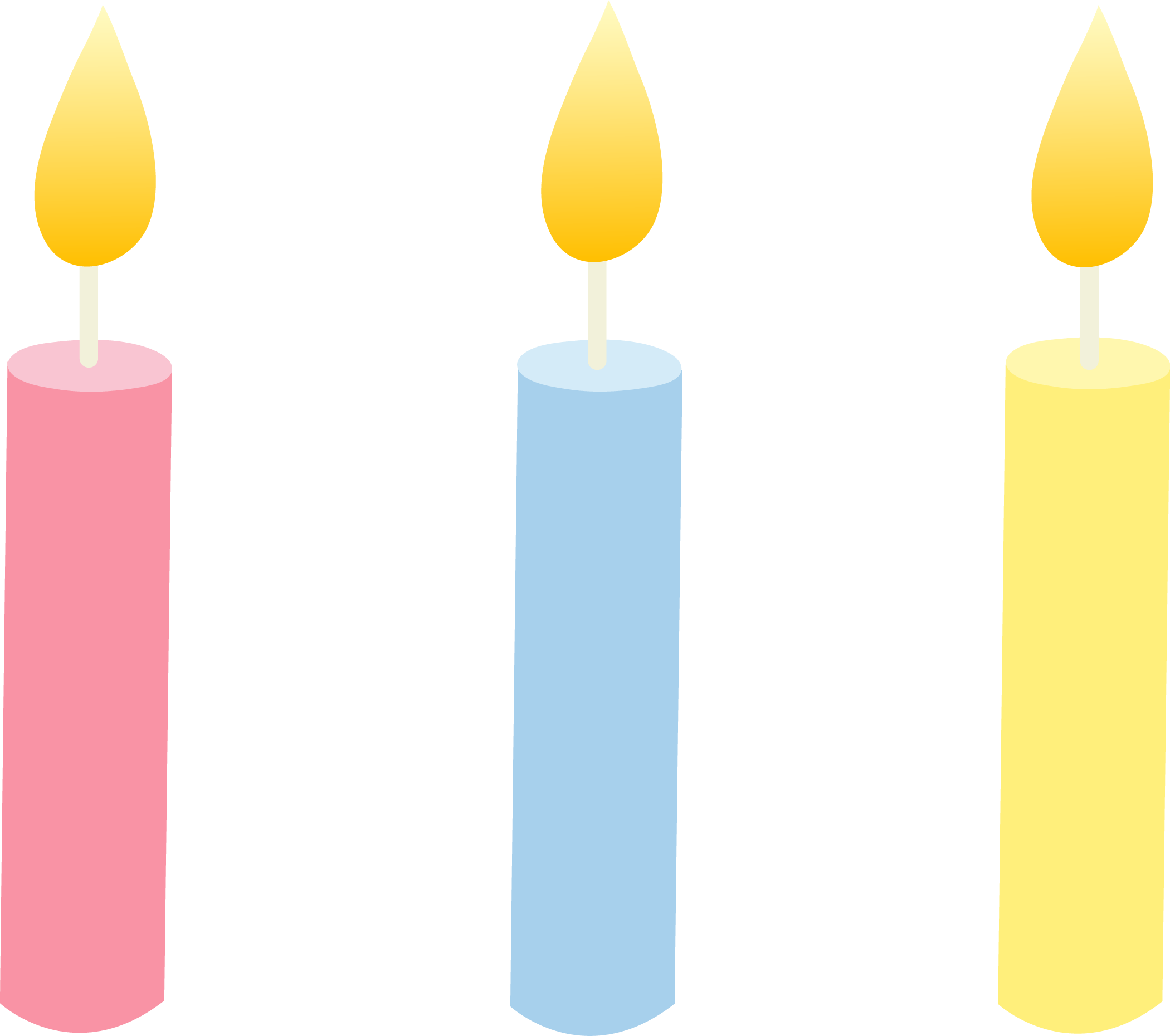 Three Pastel Colored Birthday Candles - Free Clip Art