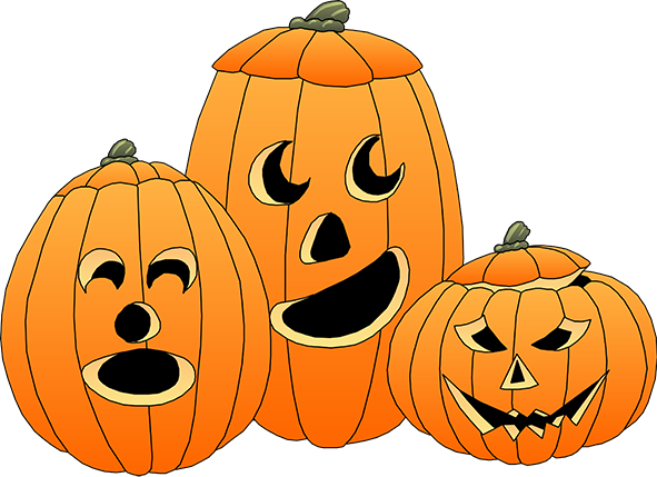 Three Pumpkins Carved For Hal - Halloween Pictures Clip Art