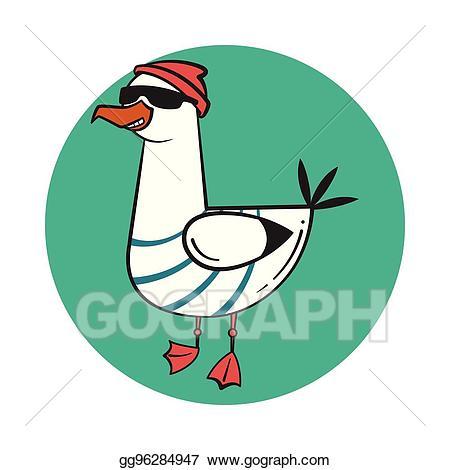 Funny cartoon seagull, steep. Thug life.
