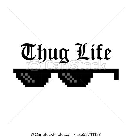 Creative Vector Illustration Of Pixel Glasses Of Thug Life Meme Isolated On  Transparent Background.