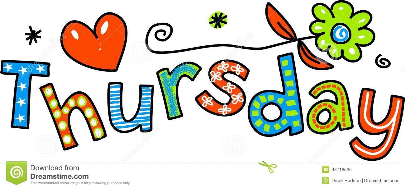 Thursday Cartoon Text Stock Photo