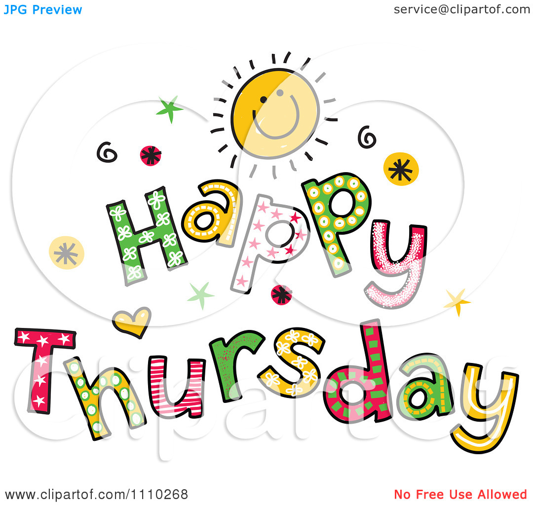 Thursday. Clipart Colorful Sketched .