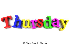 ... Thursday, day of the week multicolored over white Background