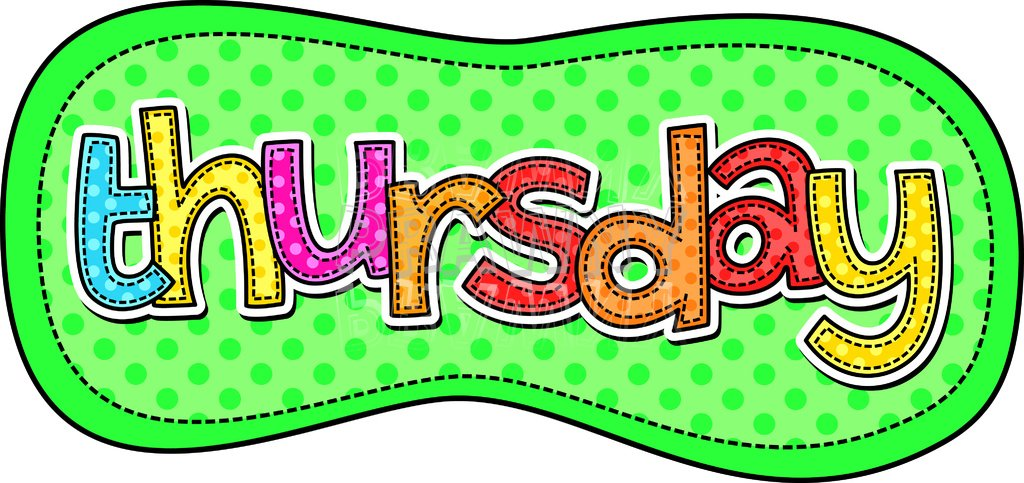 Thursday Text - Days of the Week Typographic Clip Art u2013 Prawny Clipart Cartoons u0026amp; Vintage Illustrations .