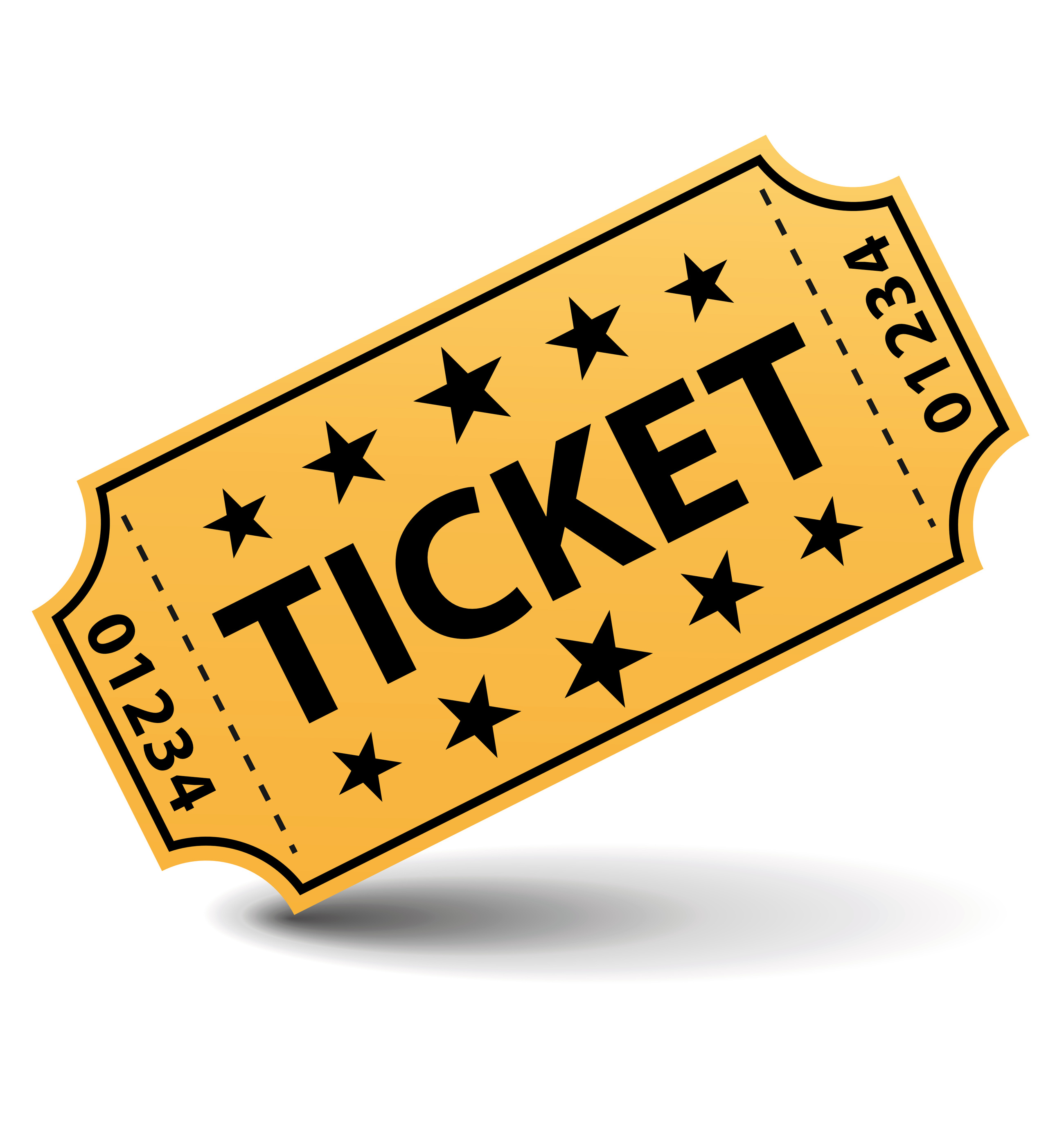 Ticket black and white clipart .