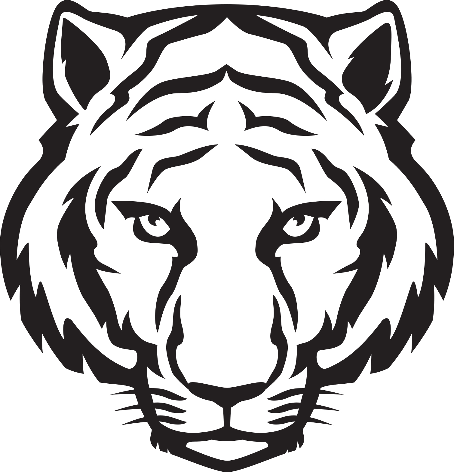 tiger face clip art black and white