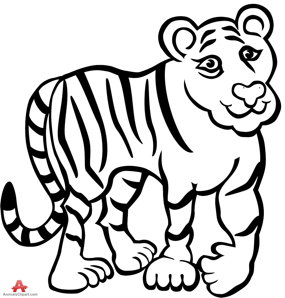 Tiger black and white tiger clipart in b-Tiger black and white tiger clipart in black and white free design download-15