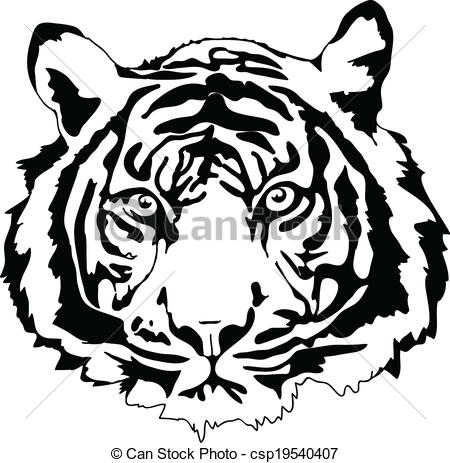 ... tiger head in black interpretation in vectorial format