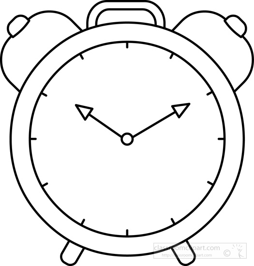 alarm-clock-time-black-white- - Time Clipart