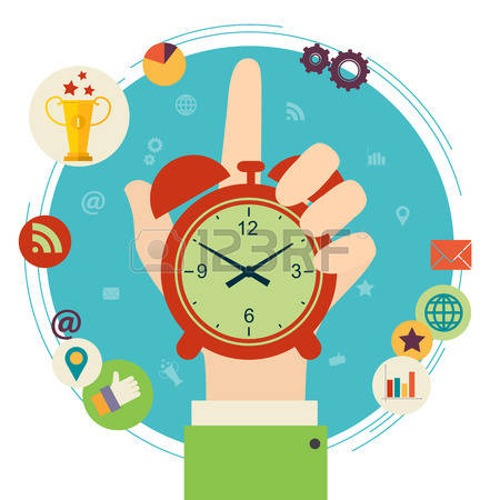 time management: Flat design illustration concept for time management. Hand hold clock.