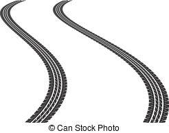 ... tire tracks - clip art illustration of tire tracks
