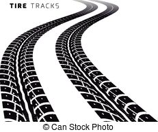 Tire tracks. Vector illustration on white background .