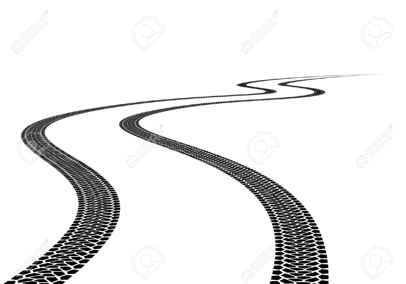 tire tread: Road Tire Track. Illustration on white background