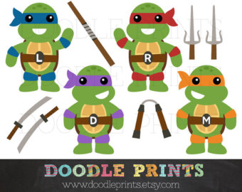 TMNT Ninja Turtles - Digital Clip Art Pr-TMNT Ninja Turtles - Digital Clip Art Printable Images - Teenage Mutant Ninja Turtles Clipart Design - Ninja Weapons - Personal Use Only-7