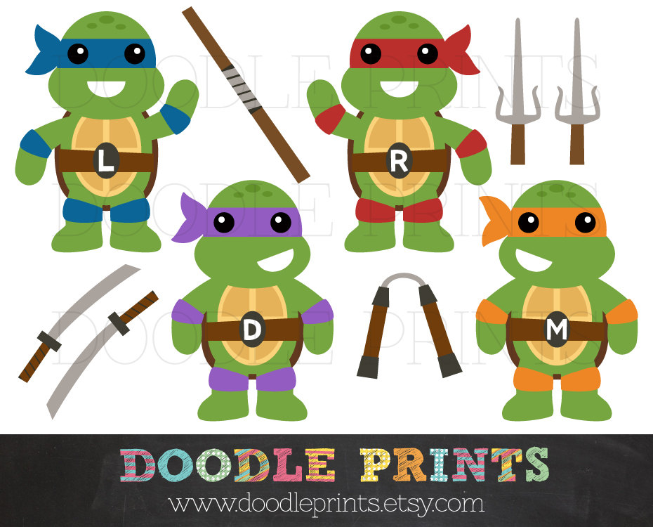TMNT Ninja Turtles - Digital Clip Art Pr-TMNT Ninja Turtles - Digital Clip Art Printable Images - Teenage Mutant Ninja Turtles Clipart Design - Ninja Weapons - Personal Use Only-0