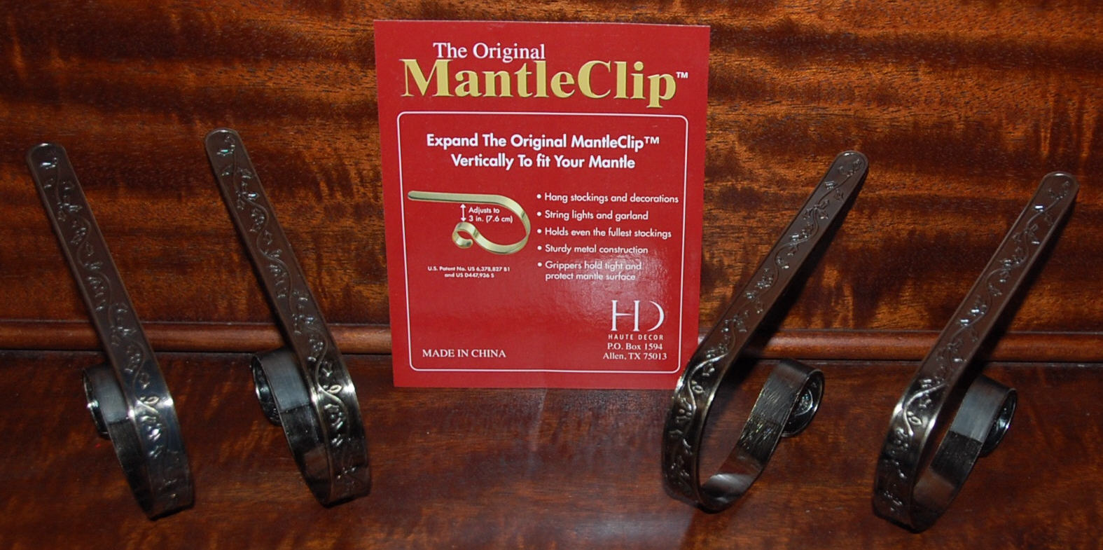 To protect the surface, there are clear silicone protector strips on the insides of the clips. These Mantle Clip Stocking Holders - Antique Brass Holly sell ...