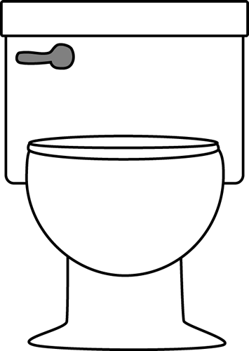 Toilet Clip Art Image - Black And White -Toilet Clip Art Image - black and white toilet with a silver handle.-13