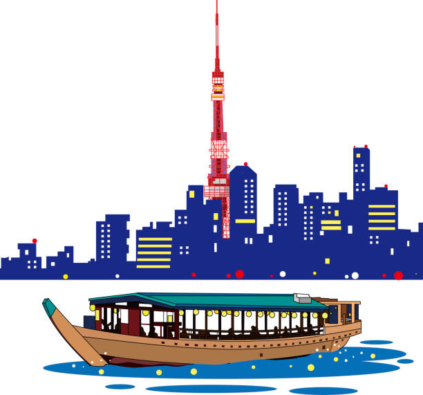 Evening houseboat and Tokyo Tower vector art illustration