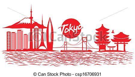Tokyo city skyline vector wit