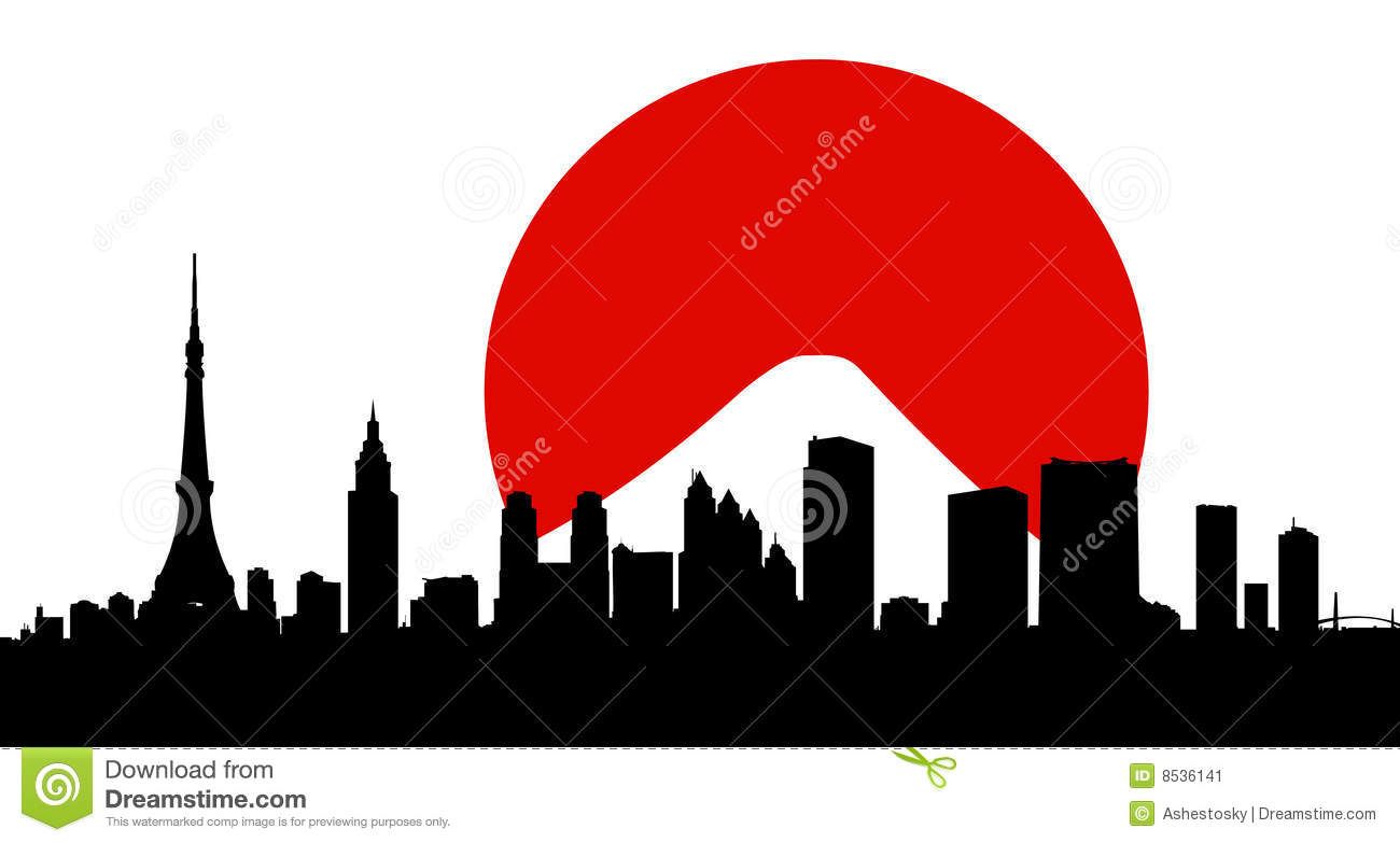 Tokyo city skyline vector wit - Tokyo Clipart