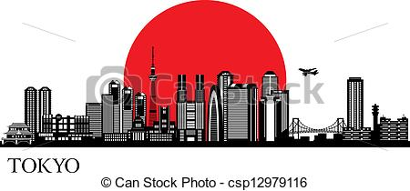 Tokyo silhouette - csp12979116