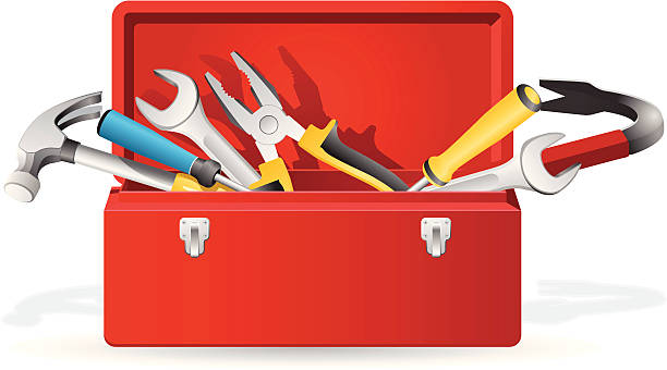 Open red toolbox with tools inside vecto-Open red toolbox with tools inside vector art illustration-6
