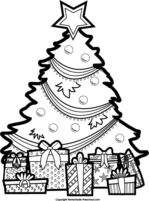 Top Free Christmas Tree Clipart Black And White Download Free