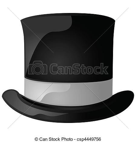 ... Top hat - Glossy illustration of a black and gray top hat