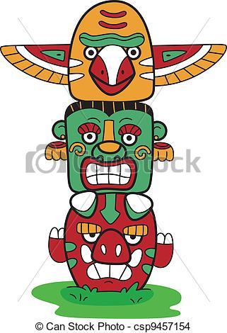 ... Totem Pole - Illustration of a Totem Pole