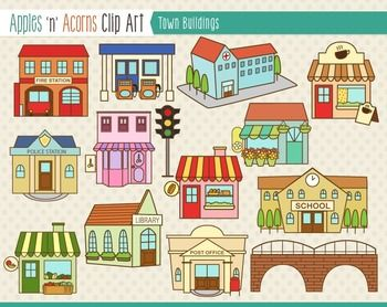 Town Buildings Clip Art
