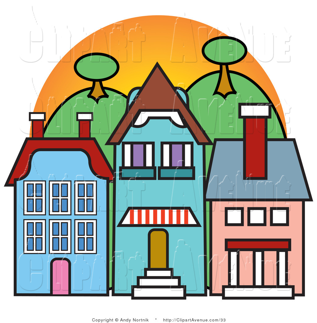 Town Clipart Avenue Vector Clipart Of Three Store Fronts In A Town In