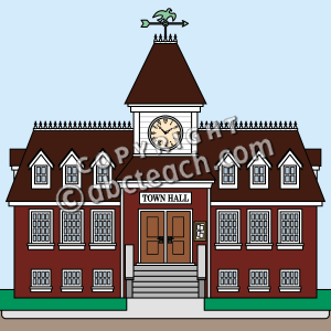 Town Hall City Village Building Color Illustration Clip Art