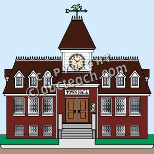 Town Hall City Village Building Color Il-Town Hall City Village Building Color Illustration Clip Art-10