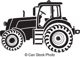 ... Tractor - Black and white - Tractor Clip Art