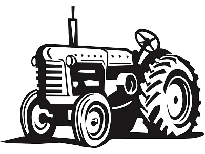 ... Tractor - Black and white