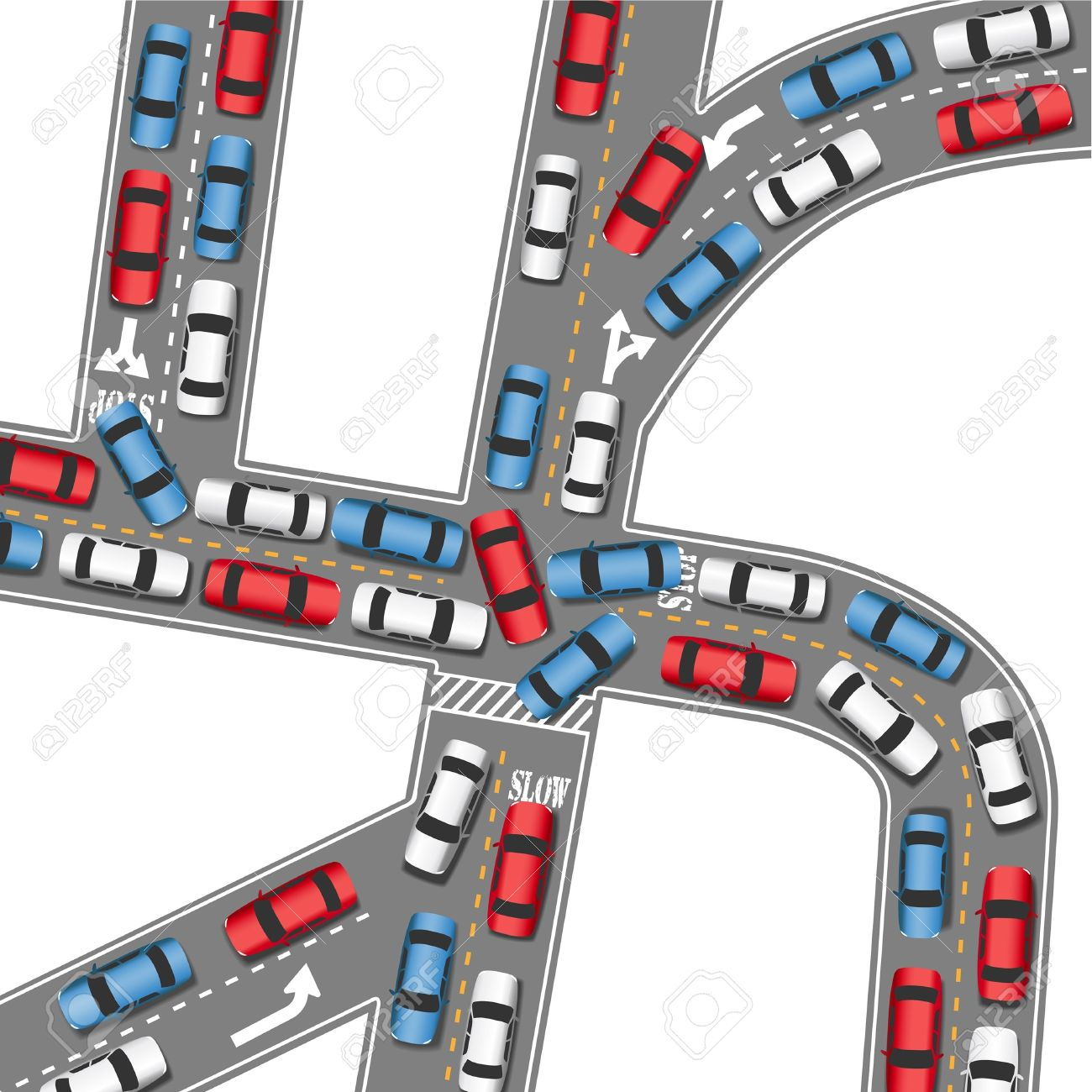 Traffic Jam: Cars In Bumper To .-traffic jam: Cars in bumper to .-15