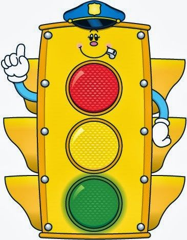 cute airplane, police car, fire truck, and traffic light clipart