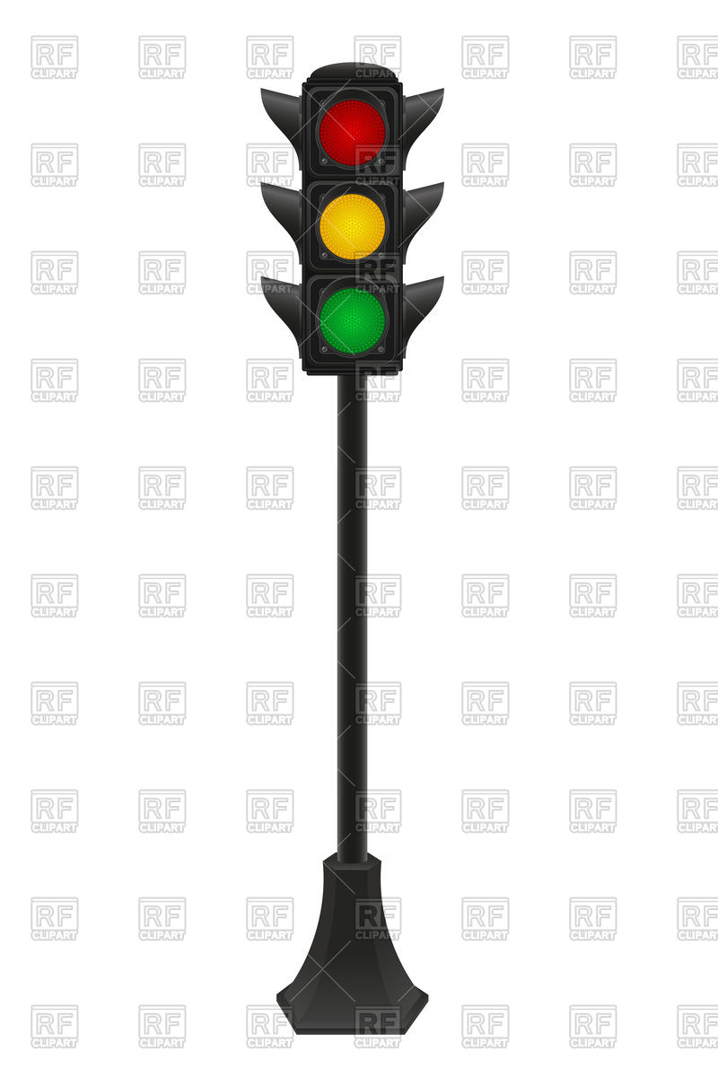 Traffic light on the pole Royalty Free Vector Clip Art