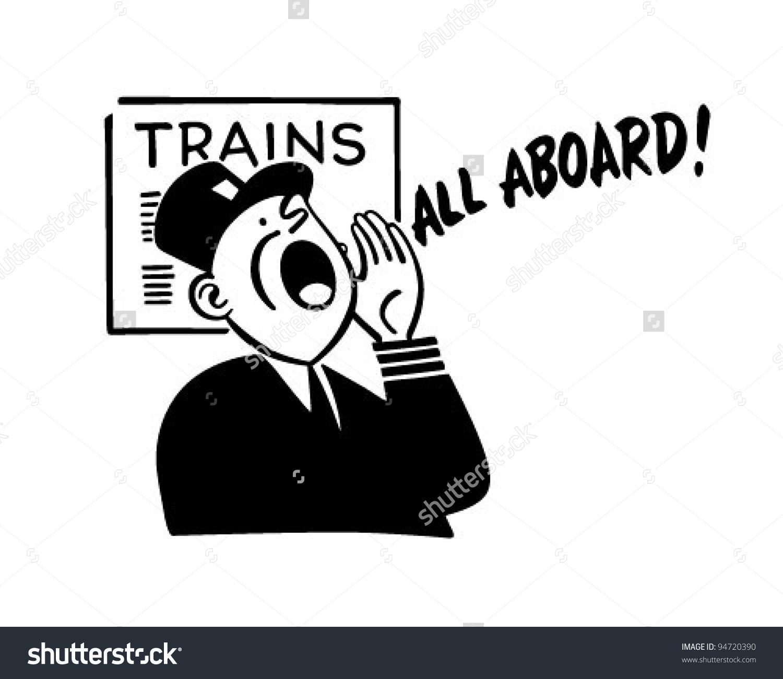 Train Conductor - Retro Clipart Illustra-Train Conductor - Retro Clipart Illustration-6