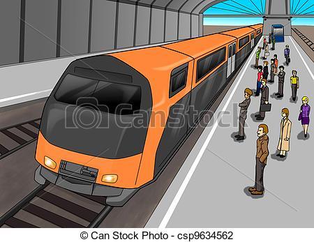 Train Station - Cartoon illustration of -Train Station - Cartoon illustration of people waiting at.-14