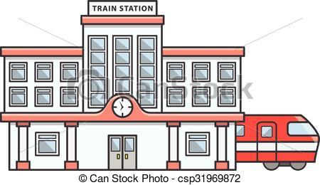 ... Train station Doodle Illustration ca-... Train station Doodle Illustration cartoon-6