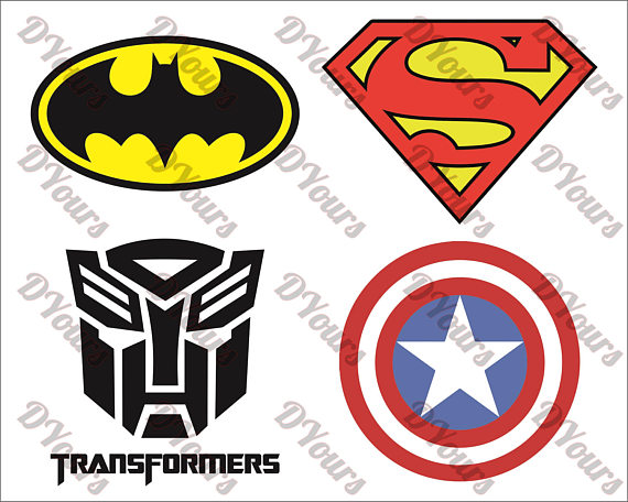 Superheroes Logos Symbols - Batman - Sup-Superheroes Logos Symbols - Batman - Superman - Transformers - Capitain  America - Vector Clipart- svg cdr ai pdf jpg - Vector Templates from DYours  on Etsy ClipartLook.com -4