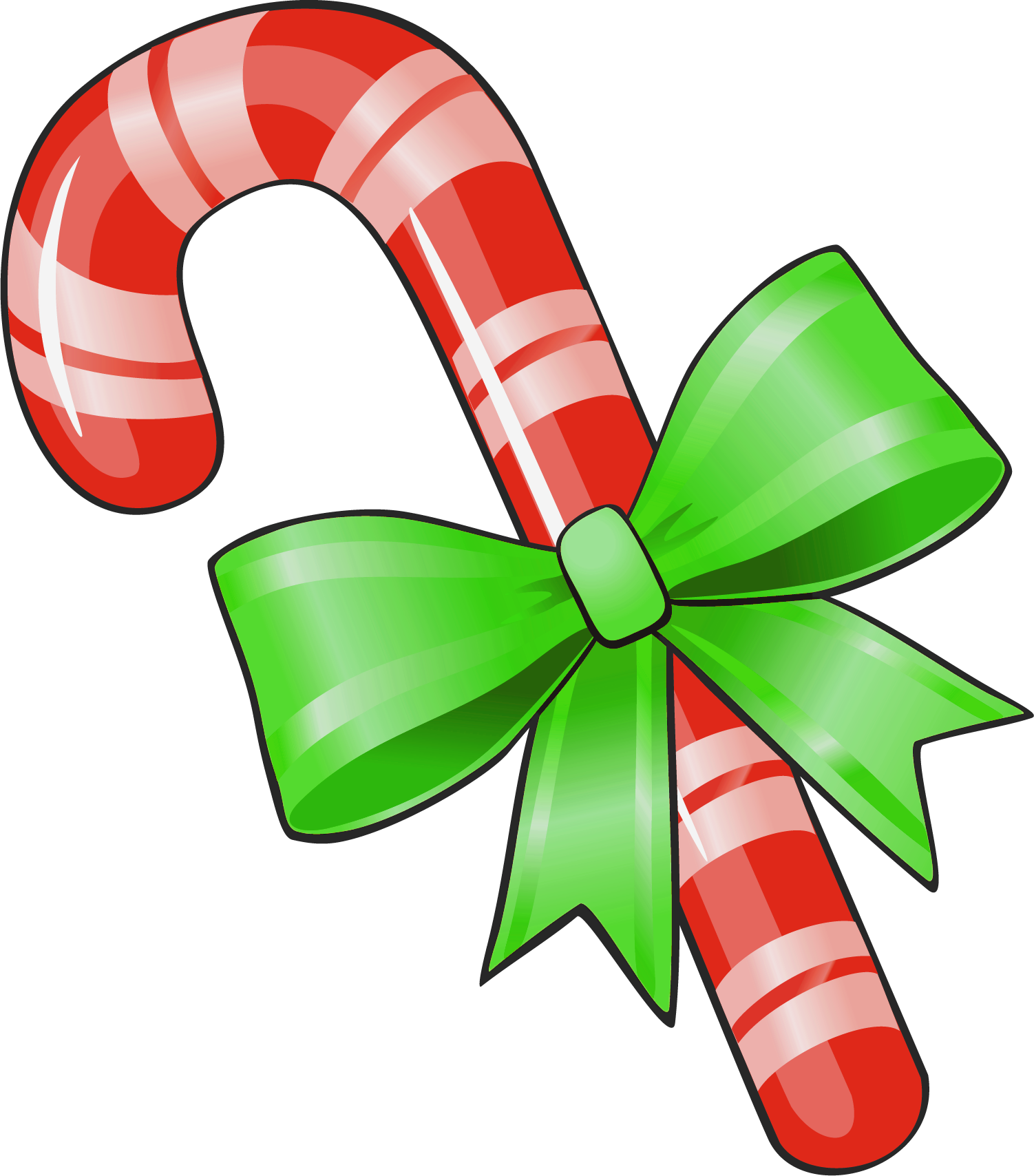 Transparent Christmas Candy Cane With Green Bow Png Clipart