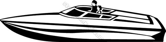 Transportation Power Boat 008 Speedboat Illustration